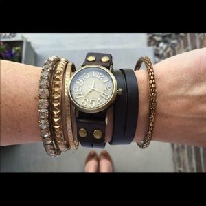 Leather wrap watch new no tags